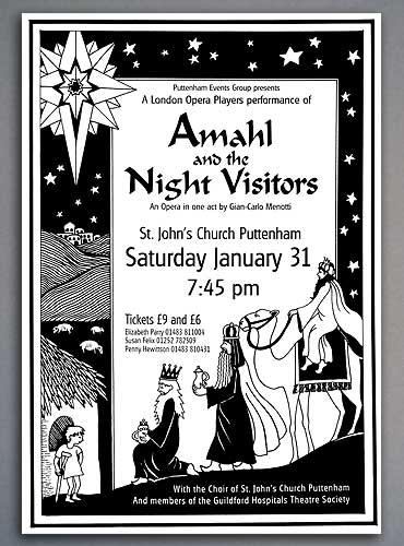 Illustrated theater poster for Amahl and the Night Visitors.