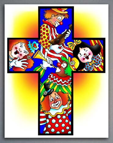 Illstration of clowns in a cross