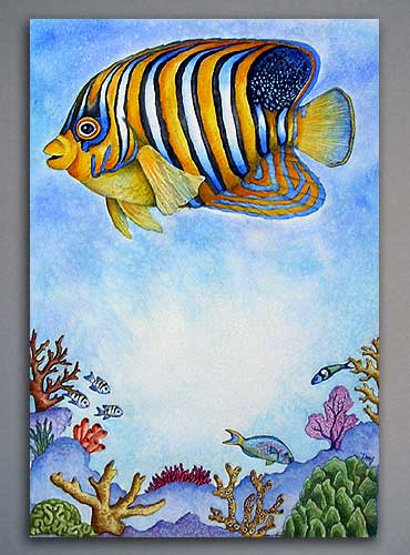Watercolor illustration of a Queen Angel fish on a coral reef