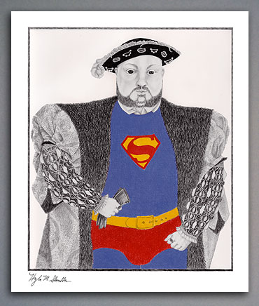 Ebony pencil illustration of Henry VIII in a superman suit