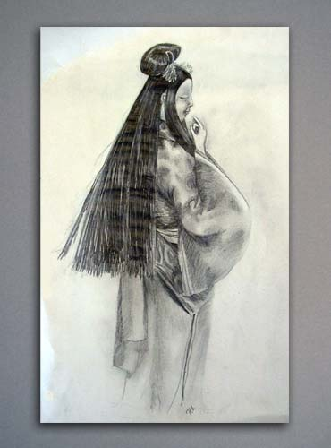 Ebony pencil drawing of a Japanese doll