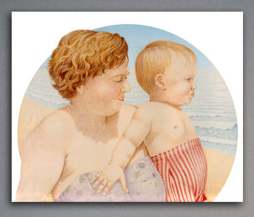 Colored pencil illustration of mother and toddler at the beach