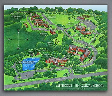 Colored Pencil aerial map of campus