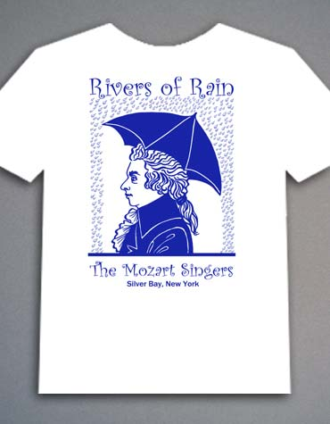Illustration featuring Mozart's profile for a t-shirt design.