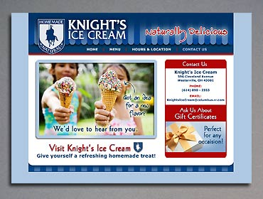 The Contact page of the Knight's Ice Cream website.