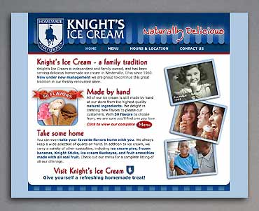 Home page for Knight's Ice Cream site