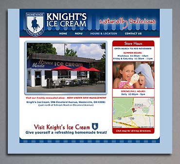 Hours and Directions page of the Knight's Ice Cream website.