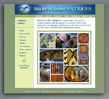 Buckeye Lake Antiques web site home page